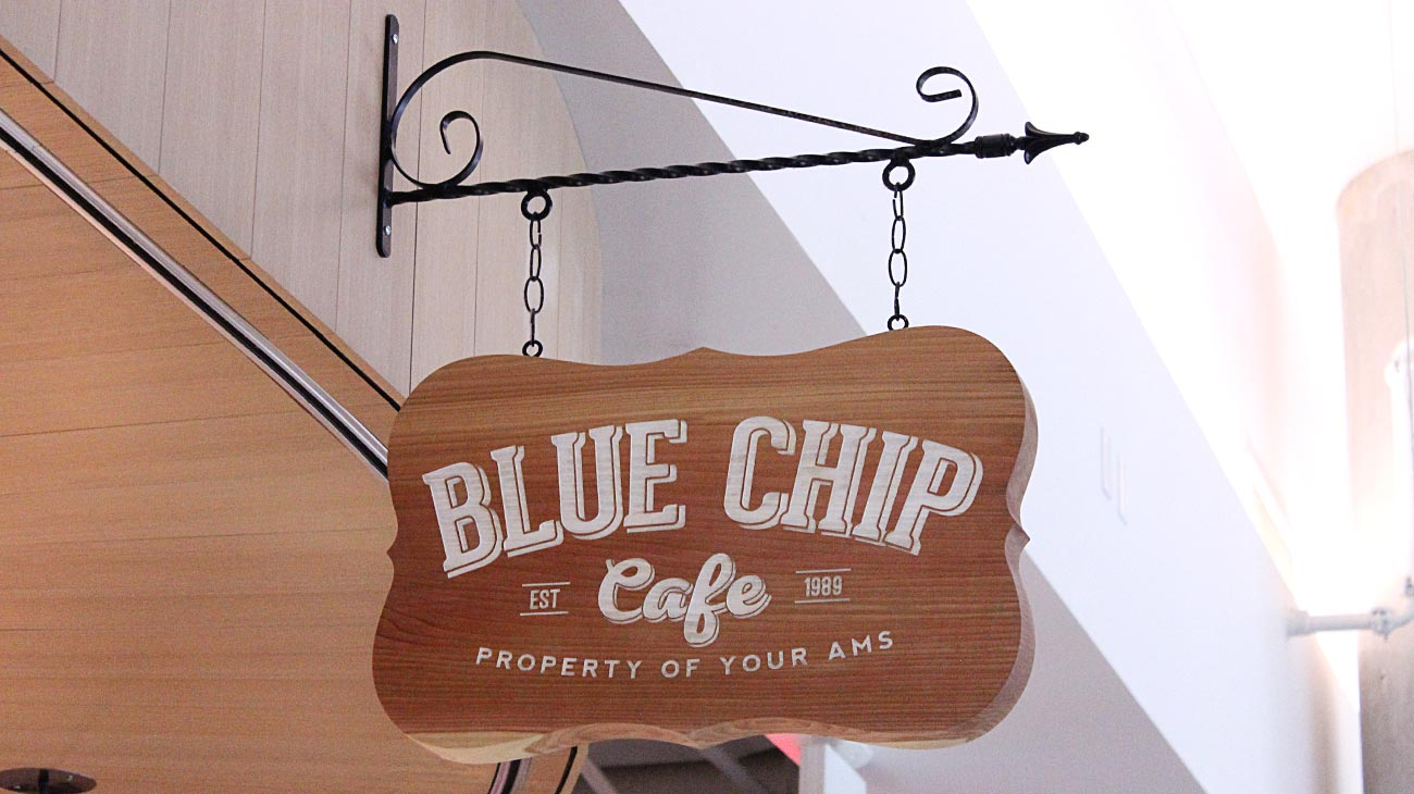 Blue Chip Cafe Signage